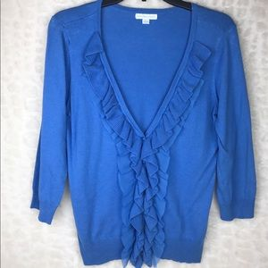 New York & Co Blue Button Top Ruffle Front M